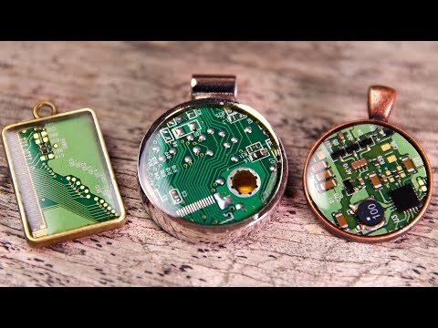 Circuit Board + Resin Jewelry [Upcycled Pendants] Computer PC Board Necklaces