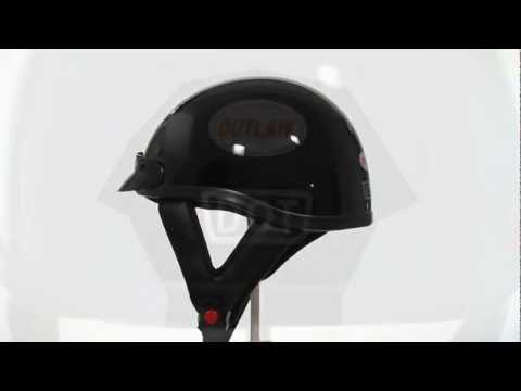 T69-T70 Outlaw DOT Solid Glossy Black Half Helmet At LeatherUp.com