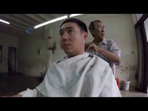 Old school haircut Phuket Thailand ช่างตัดผมสุดเก๋าภูเก็ต