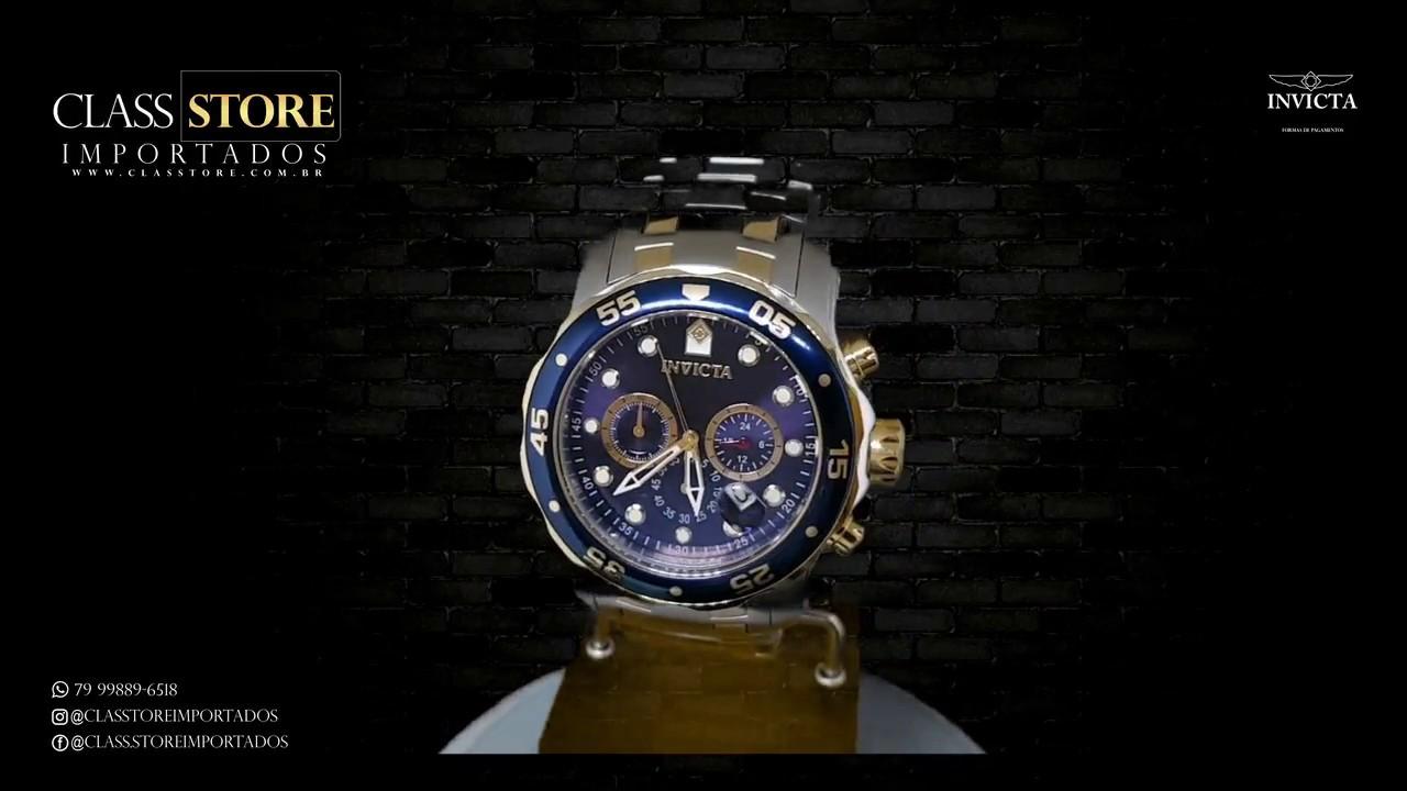 ab37358550a Relógio Invicta 0077 Pro Diver Cronógrafo Mostrador azul Calibre Vd53