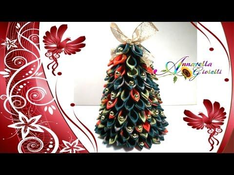 Albero Di Natale Kanzashi.Tutorial Kanzashello Diy Kanzashi Christmas Tree Youtube