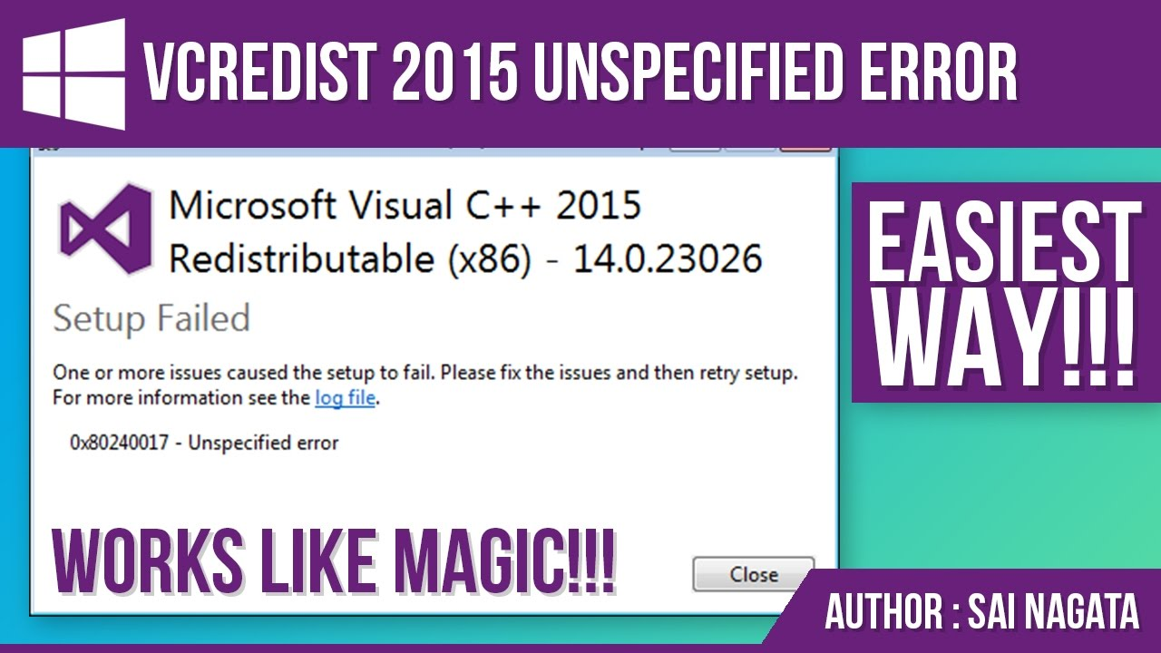 Error 0x80240017 when installing visual c redistributable 2015