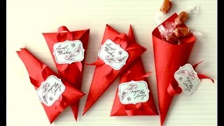 DIY Favor boxes /Cones.  Easy Gift wrapping ideas. Easter favor boxes.