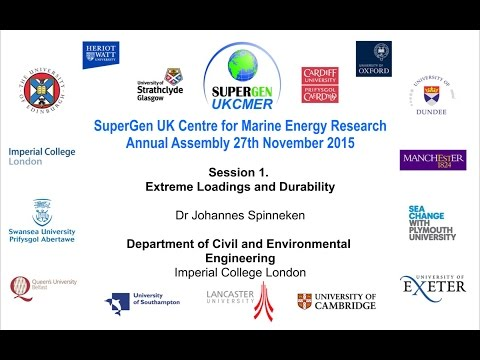 Modelling Marine Renewable Energy Devices: Designing for Survivability - Dr Johannes Spinneken