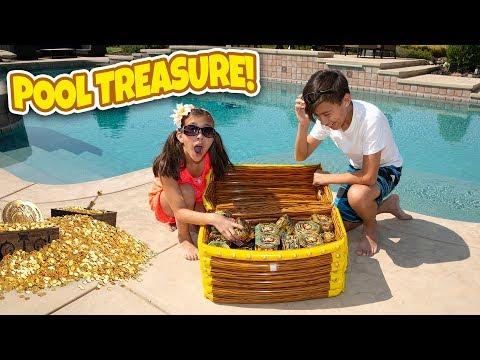 WE FOUND REAL GOLD TREASURE IN OUR SWIMMING POOL!!! Treasure X Challenge & Huge Gold Pinata Smash!