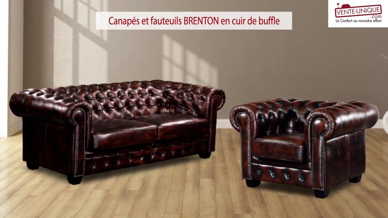 Canapé Chesterfield en cuir BRENTON