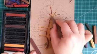 Kuru pastel ile ağaç çizimi / tree drawing