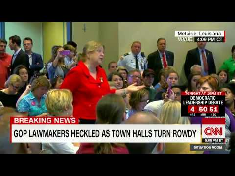 Constituents heckle Sen.  Bill Cassidy of Louisiana during a town hall