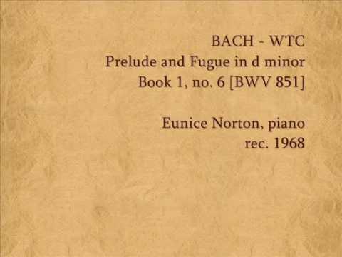 Bach - Prelude & Fugue In D, WTC Book 1, No.6 (BWV 851)  Eunice Norton, Piano (1968)