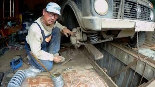 Ремонт нивы, замена пружины передней подвески.