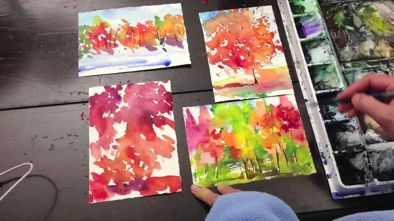 How To Painting Four Seasons With Watercolor On 5x7 Inches