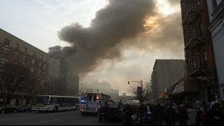 Explosion Rocks Building New York City   Buildings Collapse in Harlem Reaction new