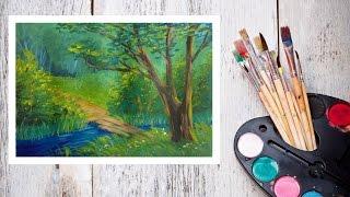 Видео урок Рисуем Гуашью Летний пейзаж №3 #Dari Art