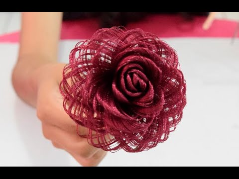 Como hacer una rosa de tela dia de las madres fabric - Como secar una rosa ...