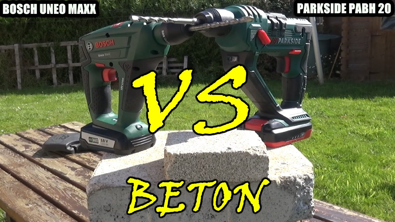 Bosch Uneo Maxx Lidl Parkside Pabh 20v Versus Bosch Uneo Maxx 18v Versus Test Beton