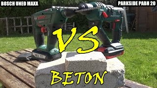 Lidl Parkside pabh 20v versus bosch uneo maxx 18v versus test beton