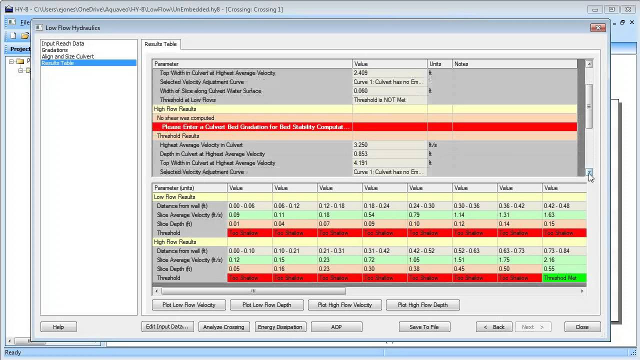 Hy 8 Culvert Analysis Low Flow Calculator Demonstration Youtube