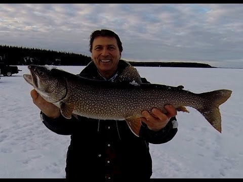 Lake trout ice fishing cold lake 2014 youtube for Lake trout ice fishing