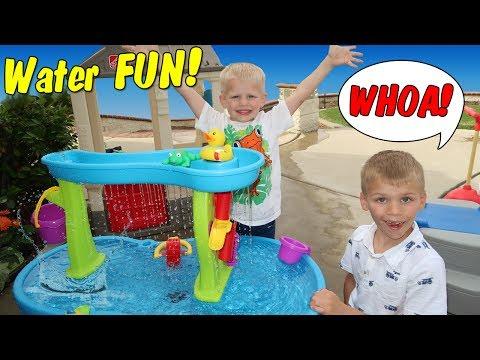 Playtime! Step2 Rain Showers Splash Pond Waterfall Water Table & Roller Coaster Fun