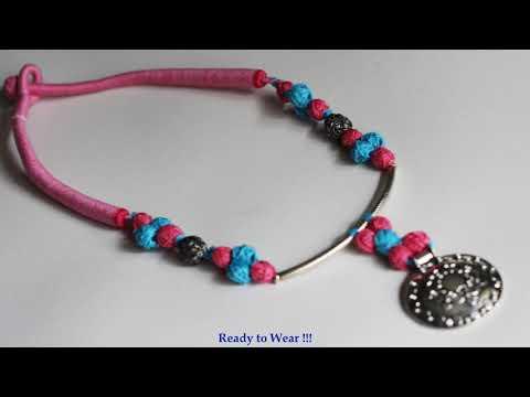 DIY Cotton Thread Beads Boho Necklace | Handmade Jewellery Making Tutorial
