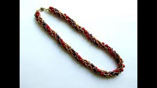Жгут из бисера и бусин. Beaded necklace tutorials. DIY