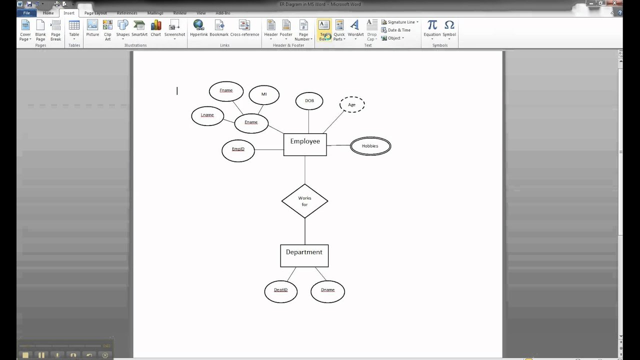 Er Diagram In Ms Word Part 8 - Illustrating Cardinality