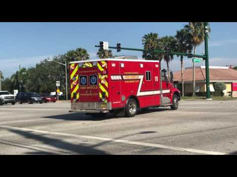 Palm Beach County Fire-Rescue Rescue 19 Responding With Air Horns & Rumbler!