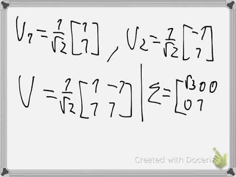 Singular Value Decomposition Example 1 Youtube