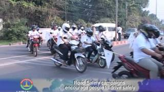 Lao NEWS on LNTV: Road Safety campaigns encourage people to drive safely.3/4/2014