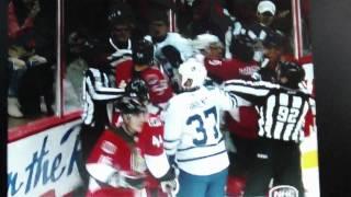 Maple Leafs @ Senators 9/29/2010 Hockey Fight (Part 2: Hockey Scrums in 3 Seconds)