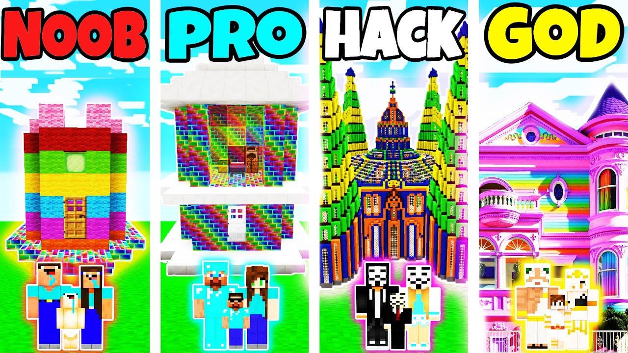 Download Minecraft: FAMILY MODERN RAINBOW HOUSE BUILD CHALLENGE - NOOB vs PRO vs HACKER vs GOD in Minecraft