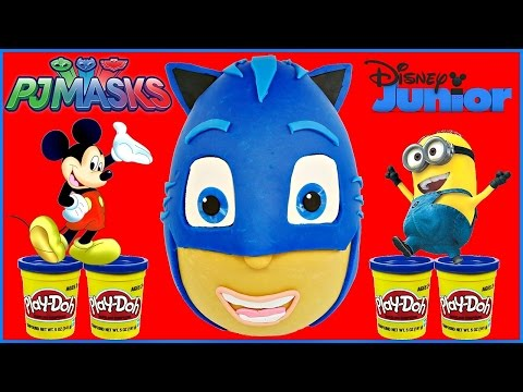 PJ Masks Giant Play Doh Surprise Egg Catboy Egg Disney Junior Marvel Tsum Tsum Looney Tunes