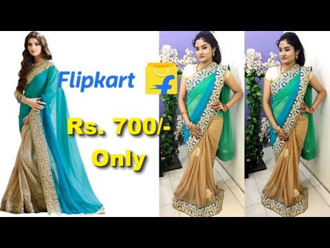 *Wedding Special* Flipkart Party wear Saree Unboxing , Review and try on | Nikki's Passion