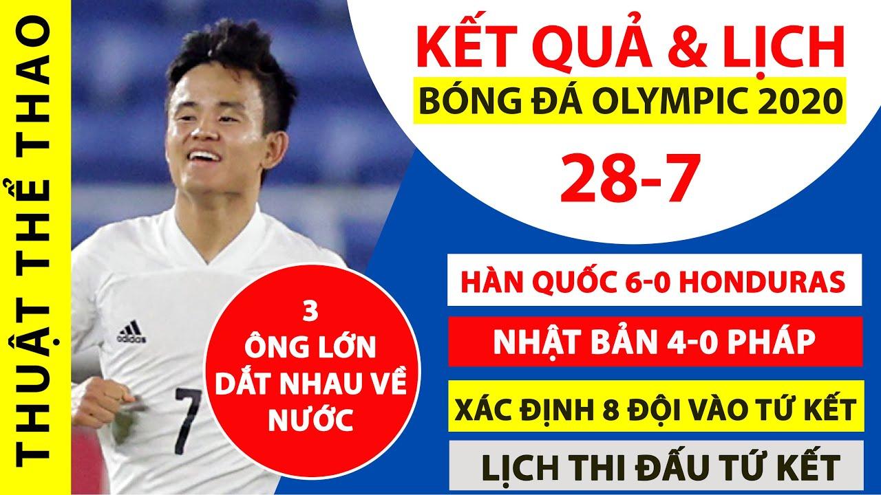 Kết quả bóng đá Olympic Tokyo   Nhật Bản 4-0 Pháp   Xác định 8 đội vào tứ kết   Lịch thi đấu tứ kết