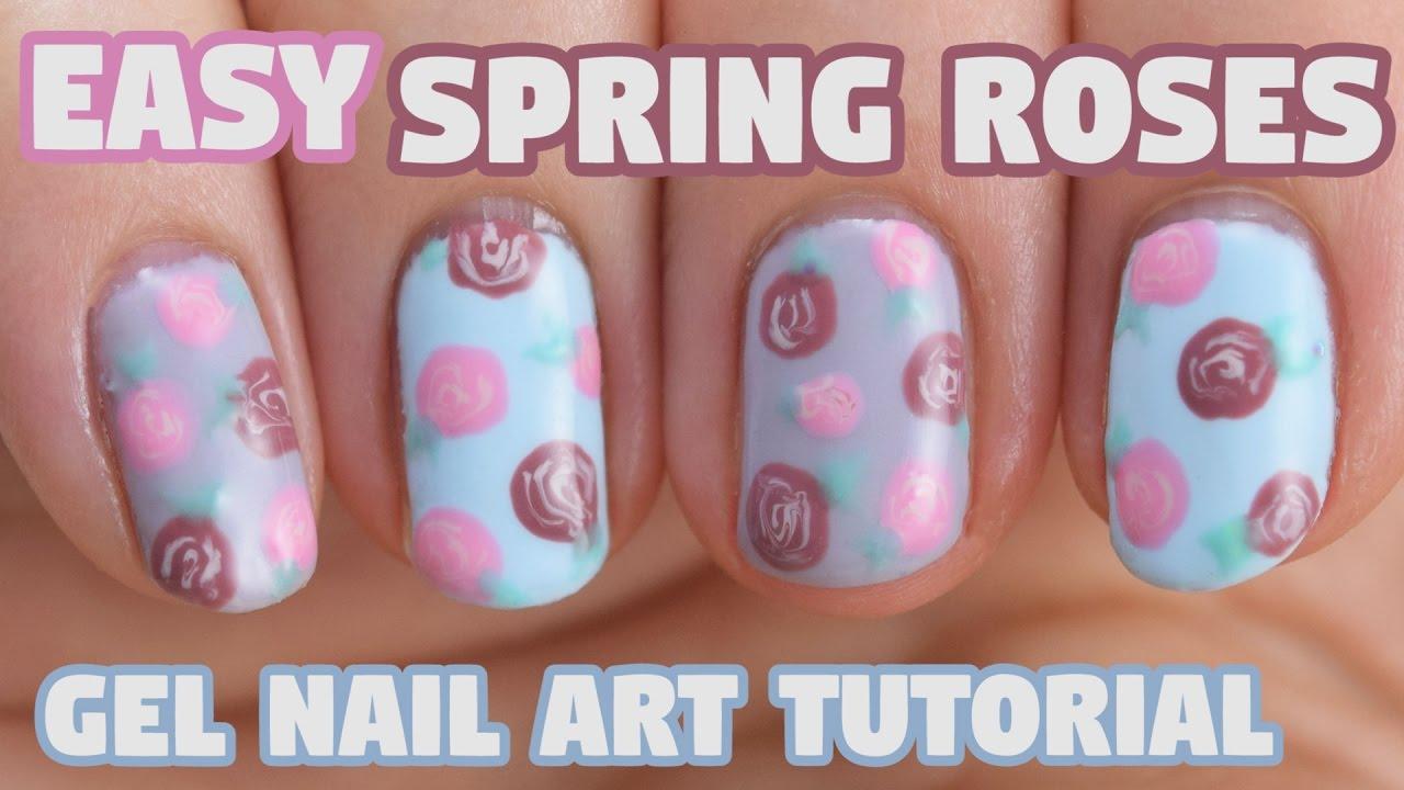 EASY Gel Roses -- Nail Art Tutorial - YouTube