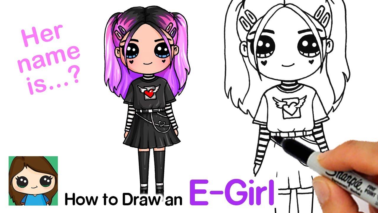 How to Draw a Tik Tok Cute E-girl - YouTube