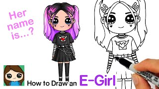 How to Draw a Tik Tok Cute E-girl