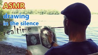 ASMR realtime drawing a portrait in the silence