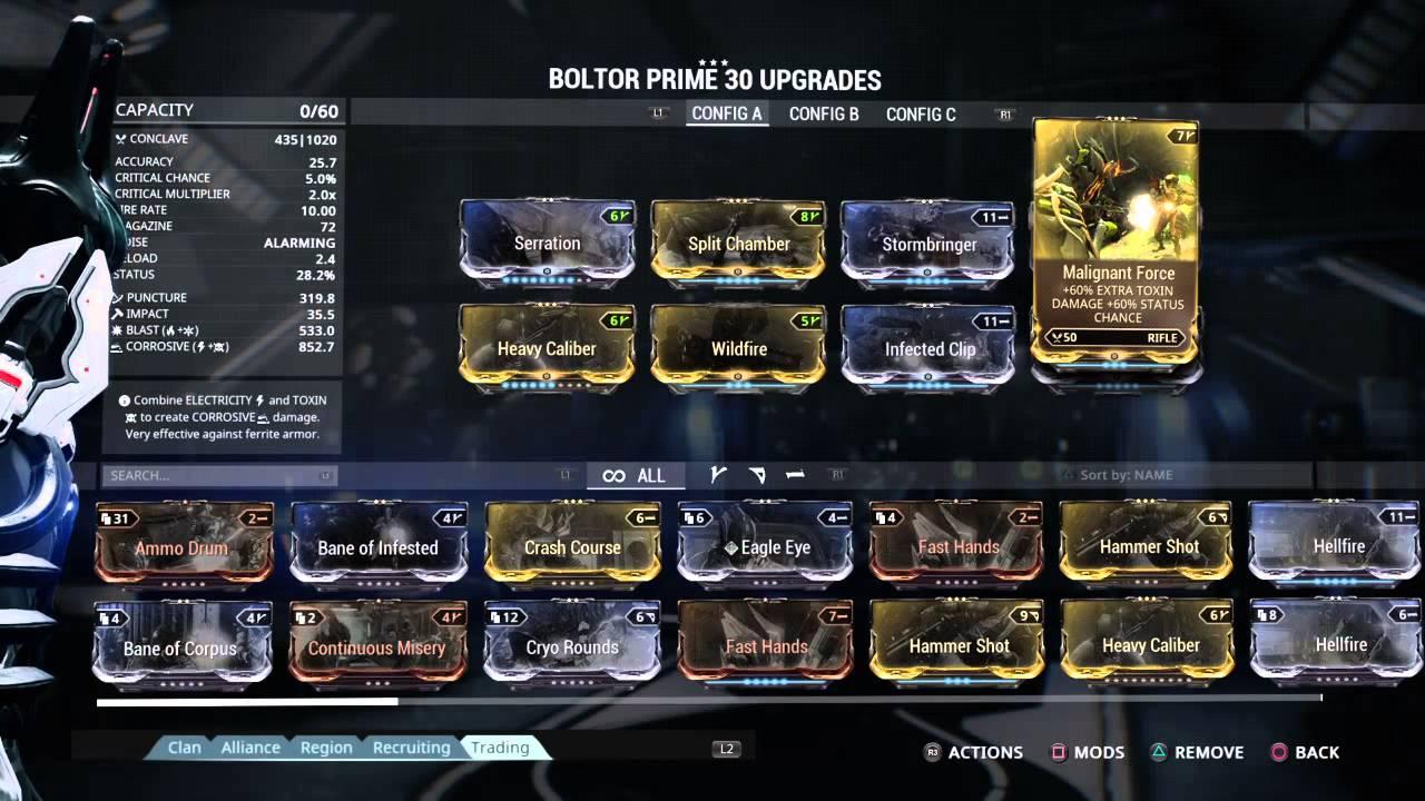 Warframe Boltor Prime Build
