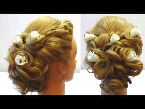 Свадебная прическа с цветами. Wedding hairstyle with flowers for long medium hair.