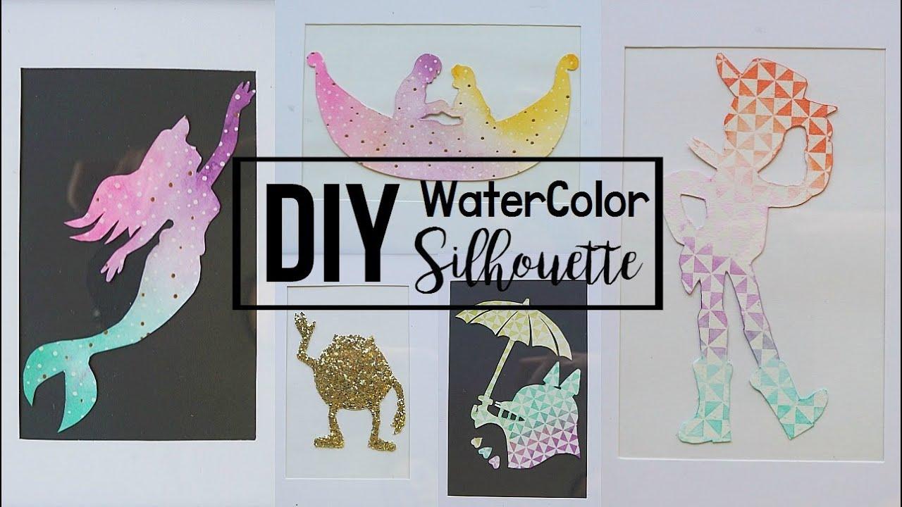 Diy Easy Disney Ombre Watercolor Silhouette Wall Decor