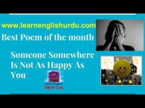 Best Poem of the month someone somewhere is not as happy as you