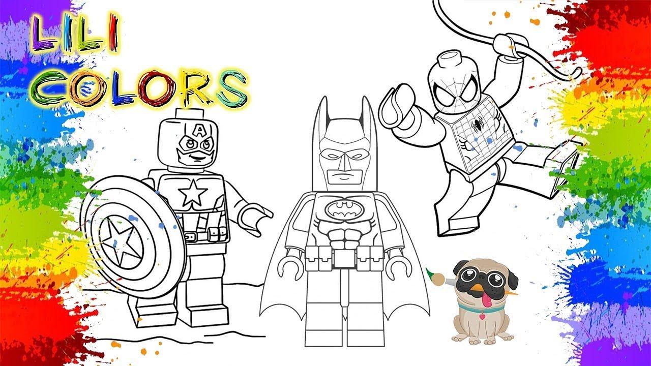 Colorindo LEGO Do CAPITÃO AMÉRICA,BATMAN E HOMEM ARANHA