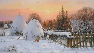 Зимний пейзаж маслом полное видео первый слой|winter Landscape Oil