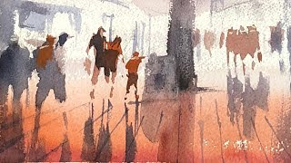 """Advancing with Watercolor: Boston at Night """"Chinatown"""""""