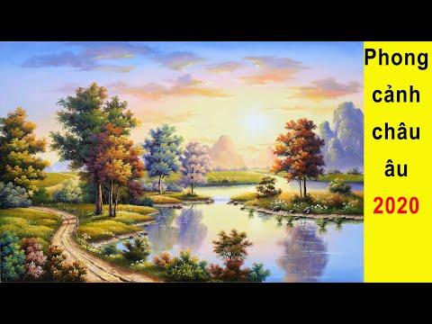 Vẽ tranh tường 3d. Phong cảnh châu âu đẹp   phong canh 3d