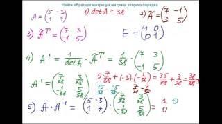 Найти обратную матрицу к матрице второго порядка