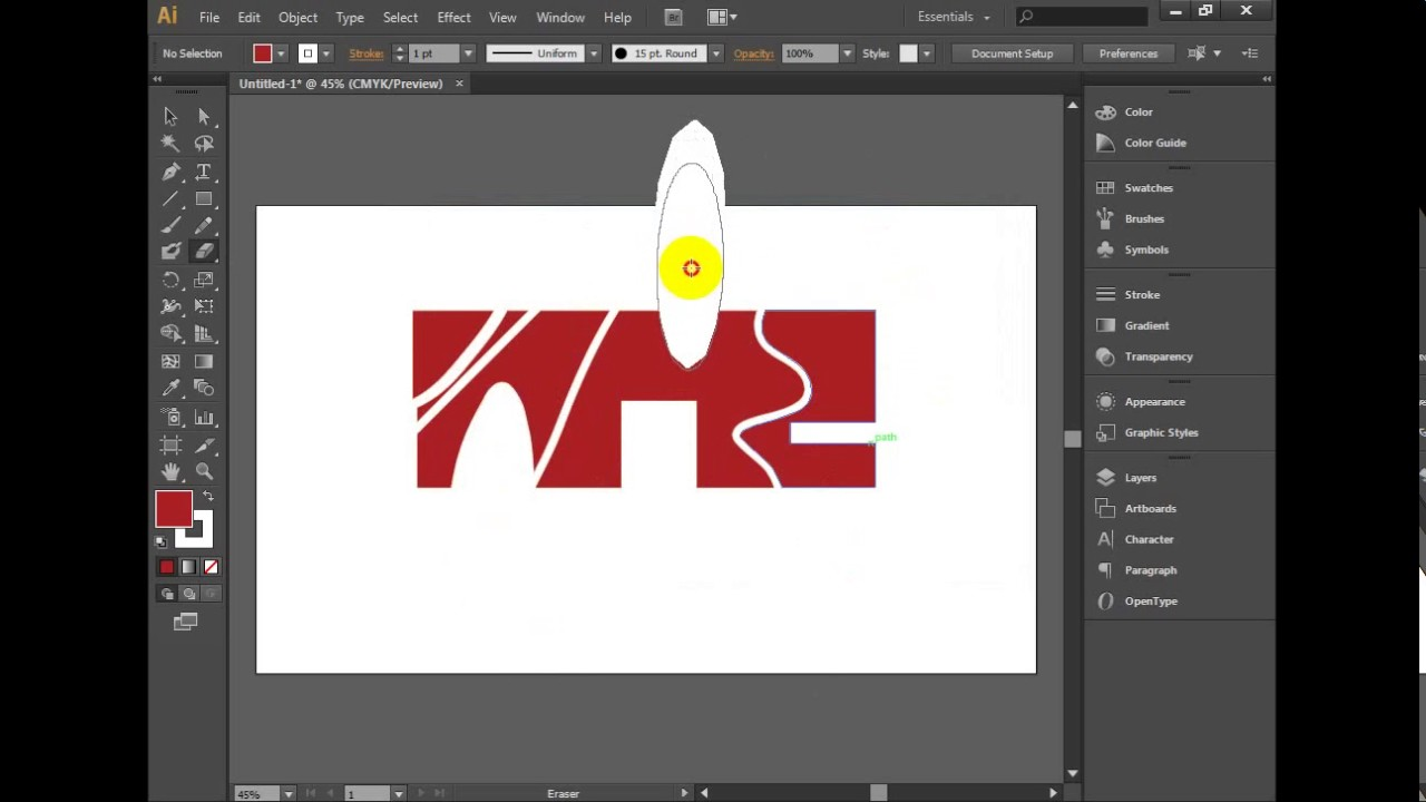 how to use the eraser tool in illustrator - YouTube