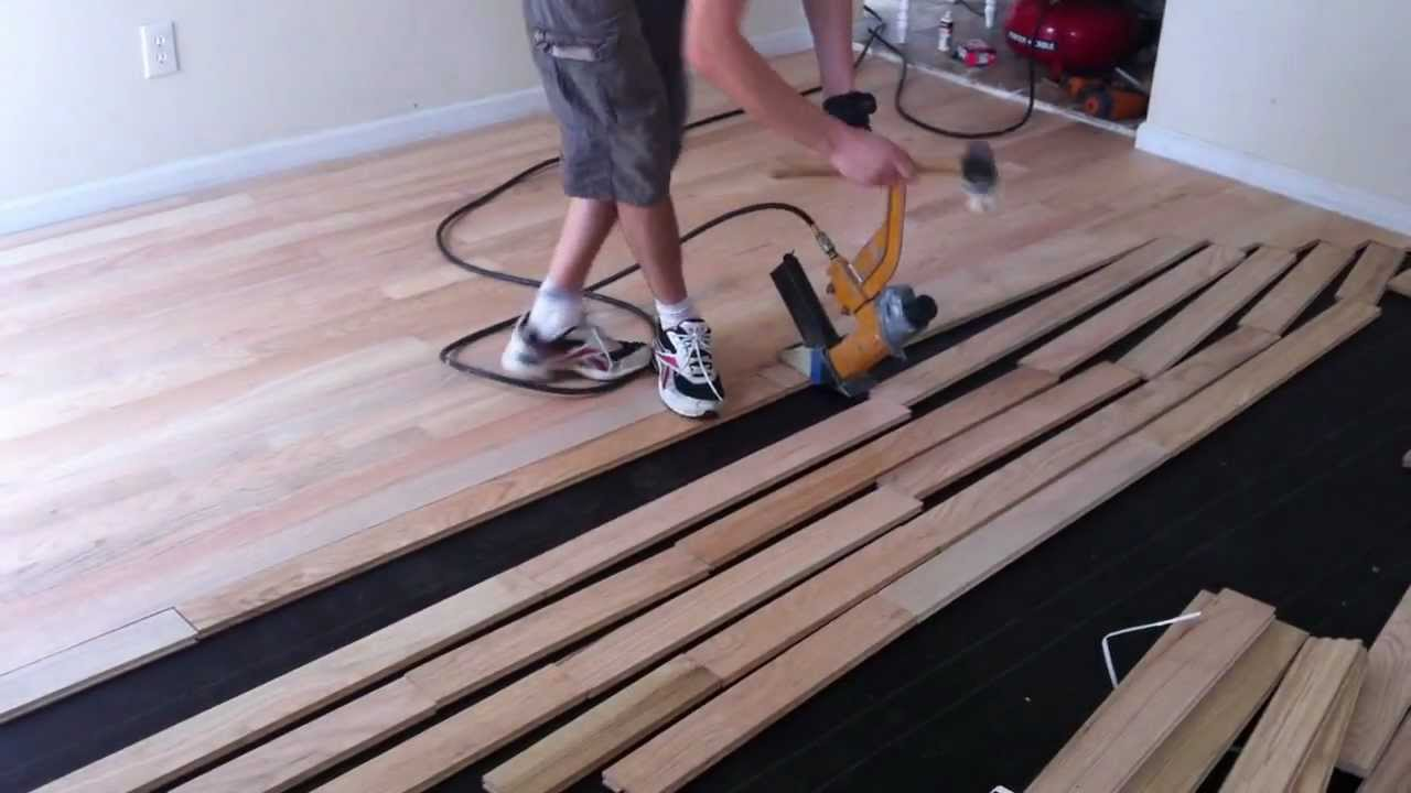 How to install (nail down) unfinished hardwood floors - YouTube