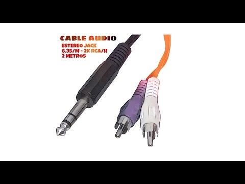 Video de Cable de audio estereo JACK 6.35 macho - 2x RCA macho 2 M Negro